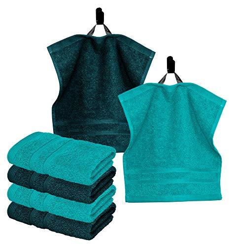 Lashuma Kleine Gästetücher 30 x 30 cm, 6 TLG Handtuchset Seiftücher Grün, Gesichtshandtuch Farbe: 3X Nautic und 3X Opal