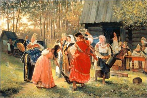 Alubild 120 x 80 cm: Tanzende Junge Frauen im Dorf. 1889 von Alexei Korsuchin/ARTOTHEK