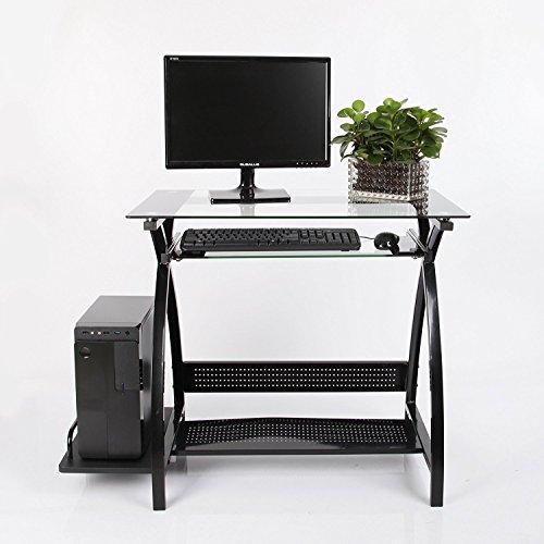 VECELO Computertisch Laptoptisch aus Glas elegante Design multifunktionale mit ausziehbaren Tastatur Tablett (Schwarz)