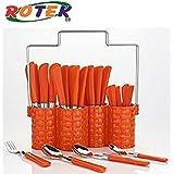 Trendy Emperor Cutlery Set - Spoon Set - Spoon Stand - 24-Pieces - Orange