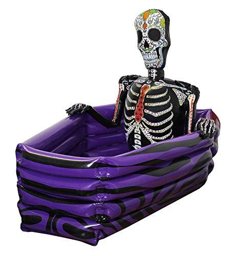 HALLOWEEN GETRÄNKE KÜHLER Aufblasbar Sarg Tag der Toten Skelett perfekt für Halloween ilovefancydress ilfd227