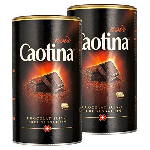 Caotina noir, Kakao Pulver mit dunkler Schweizer Schokolade, heiße Schokolade, Trinkschokolade, 2er Pack, 2 x 500g