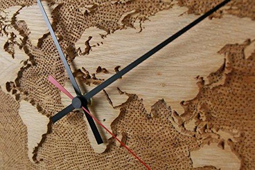 Weltuhr Uhr Wanduhr mit Weltrelief aus Eiche Unikat konvex lautlos Durchmesser 38,5cm Holzuhr