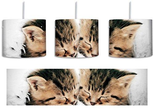 Kleine Süße Kätzchen kuscheln schwarz/weiß inkl. Lampenfassung E27, Lampe mit Motivdruck, tolle Deckenlampe, Hängelampe, Pendelleuchte - Durchmesser 30cm - Dekoration mit Licht ideal für Wohnzimmer, Kinderzimmer, Schlafzimmer -