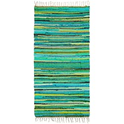 Relaxdays–Alfombra con flecos tejida mano multicolor rojo estilo indio 70x 140cm alfombra de pasillo entrada suelo Piso (poliéster y algodón, verde