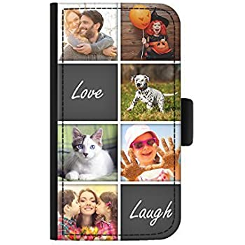 outlet store 8a60d 8c8a8 Hairyworm Personalised 6 Image Collage with Love Laugh Phone Case Custom  Photo Leather Side Flip Phone Cover For Samsung Galaxy J3 (2017)