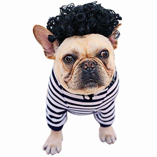 t Hund Lustige Kleidung Streifen Muster Baumwolle Pet Bekleidung Pet KostüM mit PerüCke FüR Welpen Hollween Party ()