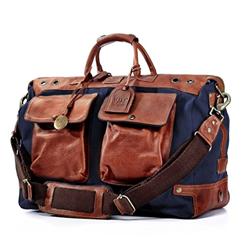 Will Leather Goods , Sac à main pour homme Navy/Brown