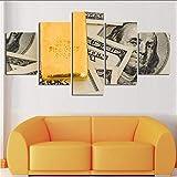 Zxdcd Wall Art Hd Stampe Home Decor 5 Pezzi Carta Moneta Soggiorno Tela Pittura Camera Da LettoImmagini Modulari Artwork Poster F