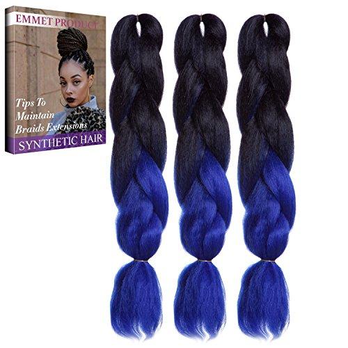 Jumbo Braids-Premium Qualität 100% Kanekalon Braiding Haarverlängerung Full Bundles 100g / pc Synthetik Haar Ombre 24Inch 3Pcs / lot Hitzebeständig, lange Zeit mit-37 Farben 2Tone & 3Tone, Garantie 1 Woche ändern oder Rückerstattung (Farbe 33)