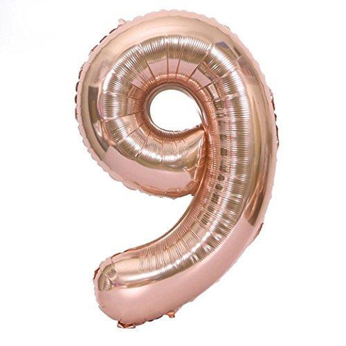 40 Zoll Nummer 0-9 Folie Digital Balloons für Geburtstagsparty Hochzeitstag;Party Dekoration, Valentinstag,Vatertag Dekoration,Abschlussball.Hochzeit Baby Shower Geburtstag Dekoration (9, Balloons)