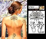 TATTOO ID XXL LOTUS Fleur tatouage grand format ephemere temporaire hypoallergénique Fabriqué en FRANCE 1 planche 22cm x 14,5cm Homme Femme