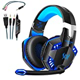EACH G2000 Cuffie da Gioco Gaming Headphone con Microfono Stereo Bass LED Luce Regolatore di Volume per PC 2 jack (mic e altoparlanti) Nero-blue