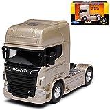 alles-meine GmbH Scania R-Serie R730 V8 Gold Beige 2 Achsen Ab 2005 Zugfahrzeug LKW Truck 1/64 Welly Modell Auto