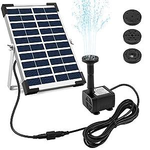 Ankway pompa acqua solare 5W pompa a fontana solare con staffa cavo 3.25M, Pompa d'acqua a energia 12V per laghetto giardino piscina stagno esterno e circolazione dell'acqua, Portata massima 380L/H