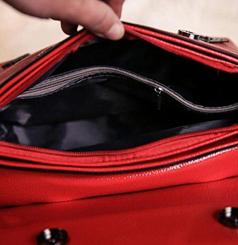 YouPue Damen Leder Handtaschen Umhängetasche Schultertasche Schulter Hobo Set Taschen Damen Handtaschen PU Leder Rot