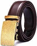Xhtang-Ledergürtel Herren Automatik Gürtel mit Automatikschließe-3,5cm Breite L - Braun - Länge 140cm (Geeignet für 44-49 taille)