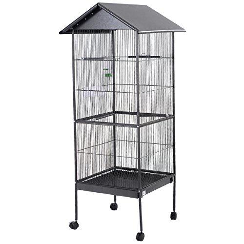 Costway Papageienkäfig mit Dach Vogelkäfig Käfig Voliere mit Rollen und Metallsitzstangen Außenmaße 66x64x157cm