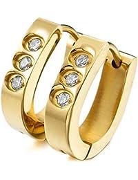 MunkiMix Acero Inoxidable Semental Aro Hoop Huggie Pendientes Cz Cubic Zirconia Circonita Plata Oro Dorado Dos Tono Mujer