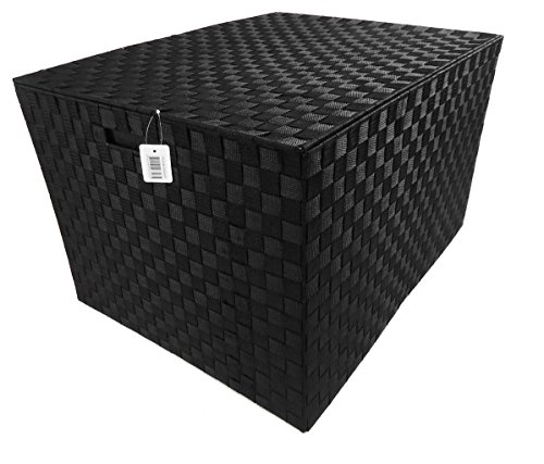 big-huge-grand-metal-frame-tapered-kids-toy-box-de-stockage-trunk-chest-blanket-box-noir-petit-66-x-