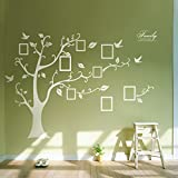 Single PVC Riesig Schwarz Bilderrahmen Speicher Baum Vine Zweig Abnehmbare Wandtattoo Stickers (rechts, Weiß)