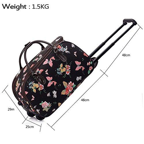 TrendStar Damen Reisetasche Taschen Handgepäck Frauen Schmetterling Wochenende rollig Handtasche C - Black Butterfly S4