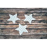 Applikation Sterne aus Bio-Baumwolle, 3 Stück, ca. 5,5 x 5,5 cm, Bügelbild, Aufnäher, Patch Aufbügeln, Mädchen, Junge, blau hellblau Punkte, Sterne