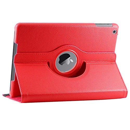 ebestStar - iPad 9.7 Hülle [2018, iPad 9.7 2017, iPad Air 1 (2013): 240 x 169.5 x 7.5mm, 9.7''] Rotierend Schutzhülle Etui, Schutz Hülle Ständer Rotating Case Cover Stand, Rot