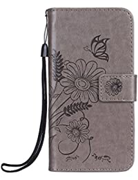 Lomogo [Huawei P9 Lite] Hülle Leder Blumenprägung, Schutzhülle Brieftasche mit Kartenfach Klappbar Magnetverschluss Stoßfest Kratzfest Handyhülle Case für Huawei P9Lite - LOGUH20232 Grau