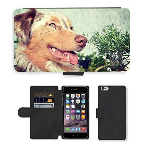 Just Mobile pour Hot Style Téléphone portable étui portefeuille en cuir PU avec fente pour carte//m00139241Berger Australien pour chien Berger//Apple iPhone 6Plus 14cm