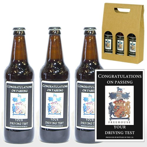 Personalised Yorkshire Ales with 'Congratulations On Passing Your Driving Test' on the Labels in a Gold Gift Box - Gift Ideas for Congratulations for Him and Her