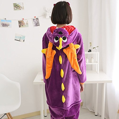 Imagen de abyed kigurumi pijamas unisexo adulto traje disfraz adulto animal pyjamas,dragón púrpura adulto talla xl para altura 175 183cm alternativa