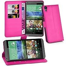 Cadorabo - Funda HTC DESIRE 820 Book Style de Cuero Sintético en Diseño Libro - Etui Case Cover Carcasa Caja Protección (con función de suporte y tarjetero) en ROSA-CEREZA