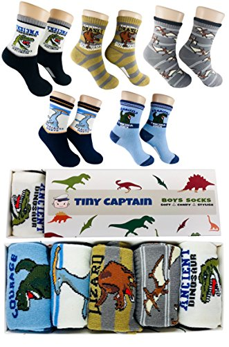 Socken für Jungen Dinosaurier, super Geschenk für Junge im Alter von 4-8 Jahre, Strümpfe kinder 5 Paar Von Tiny Captain
