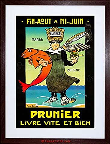 AD FOOD SEAFOOD OYSTER PRUNIER FRANCE CUISINE FRAMED PRINT F12X2302