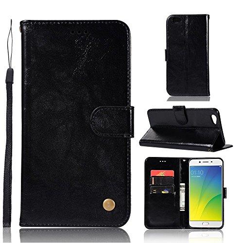 kelman Hülle für Oppo R9s Plus/Oppo F3 Plus Hülle Schutzhülle PU Leder + Soft Silikon TPU Innere Schale Brieftasche Flip Handyhülle - [JX06/Schwarz]