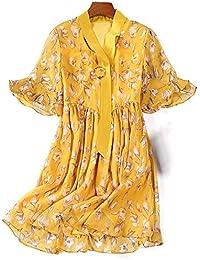 932b2171999e Femmes Robes-Mousseline de soie d été Floral impression Bohemian Spaghetti  Tie Flowy Swing