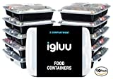 [10 pack] Igluu PREMIUM 3 Compartment BPA-Free Meal Prep Containers | Plastic Food Storage Containers with Airtight Lids | Microwavable, Freezer and Dishwasher Safe | Reusable and Stackable Bento Lunch Boxes | BONUS eBook