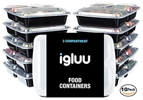 [10 pack] Igluu PREMIUM 3 Compartment BPA-Free Meal Prep Food Containers | Plastic Food Storage Containers with Airtight Lids | Microwavable, Freezer and Dishwasher Safe | Reusable and Stackable Bento Lunch Boxes | BONUS