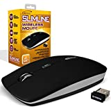 Gamekraft G327BLK Slimline Variable 2000DPI Wireless Mouse with Nano Receiver and Pouch - Black (batteries not included)