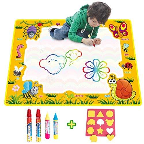 Wasser Doodle Matte / Kinder Aqua Magic Doodle Malmatte mit 4 Wasser Zeichnung Stift & 1 EVA Grafik Wiederverwendbar Malerei Gemälde Zaubertafeln Zeichentafel Pädagogisches Spiel Spielzeug -