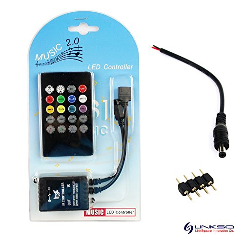 LinkSquare 20 Teclas IR Inalámbrico del Mando a Distancia + CC 12V 6A 72W IR Música Sensor de Sonido Dimmer Controlador para Tiras de iluminación RVA (RGB) LED SMD Luz