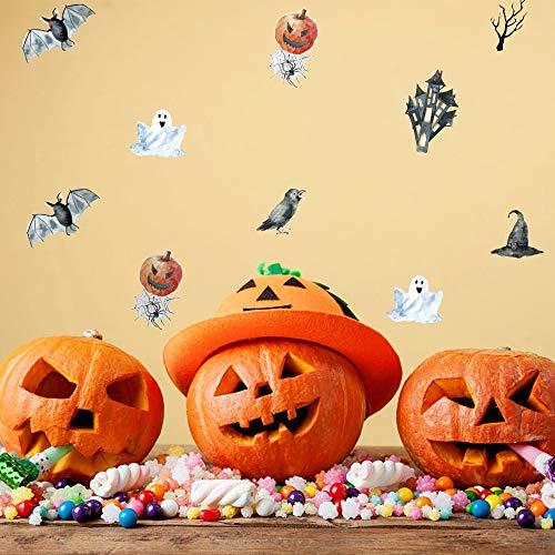 Atiehua Wandtattoos Halloween Bat Kürbis Geist Wandaufkleber Zitat Kunst Diy Aufkleber Wandbild Dekor