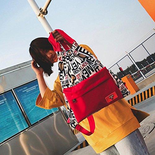 Longra Donna Zaino multicolore stampato della tela di canapa dello spalla Rosso
