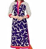 Kurti (Sai Fab Women's Crepe Printed Blu...