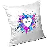 Kissen mit Namen Carlos und schönem Motiv mit Wasserfarben-Herz zum Valentinstag - Namenskissen - Kuschelkissen - Schmusekissen