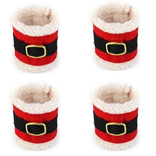 Qsewid 4pcs Anneaux Ronds de Serviettes Bonne Décoration pour Noël