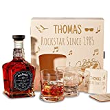 Holzkiste mit Jack Daniel's Single Barrel Tennessee Whiskey | 6-tlg Whisky Geschenk-Set inkl. Gravur Motiv - Rockstar