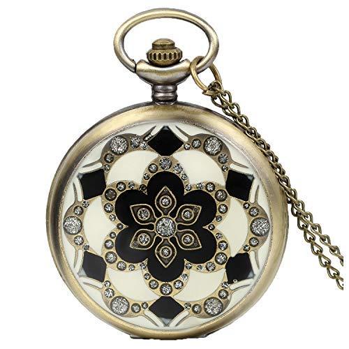 JewelryWe Romantisches Geschenk Peach Blossom Floral Frau Taschenuhr Anhänger Halskette mit Kette in GESCHENK Tüte