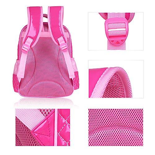 BOZEVON Jungen Mädchen Wasserdichte Rucksack für Kinder Unisex Schulrucksäcke Rucksack für Reisen, Wandern Rose-B